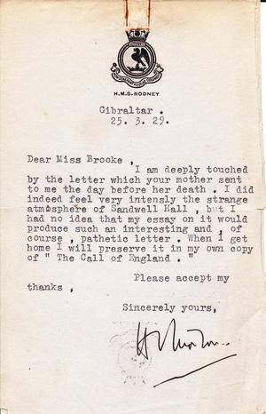 HVM letter HMS Rodney 25-3-29 small
